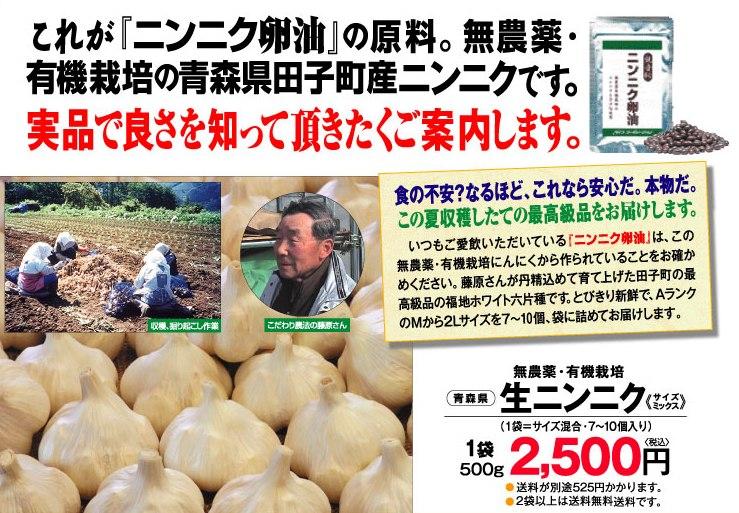 田子町産、無農薬・有機栽培の生にんにく。